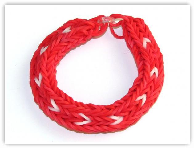 Rainbow Loom Patterns - Double Cross Long Heart Stripe bracelet